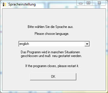 choose language at install software