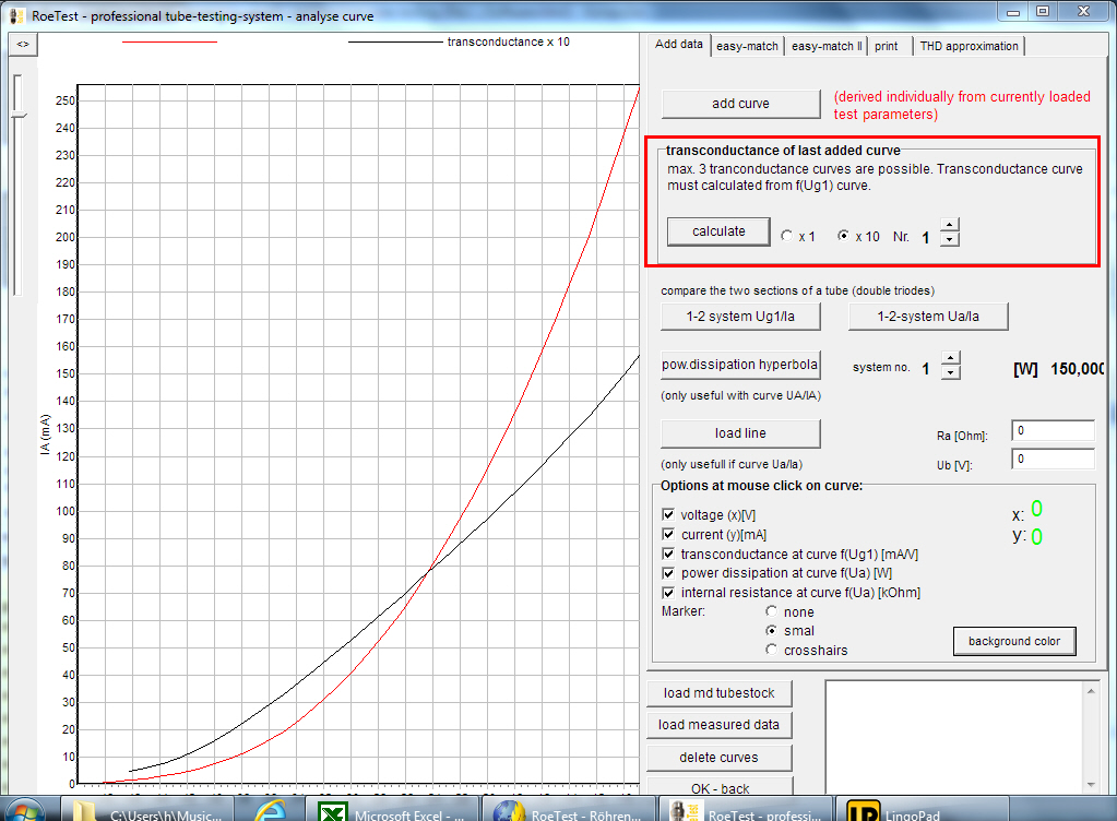 calculating transconductance curve